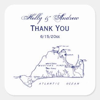 Martha's Vineyard Vintage Map #1 Navy Blue Square Sticker