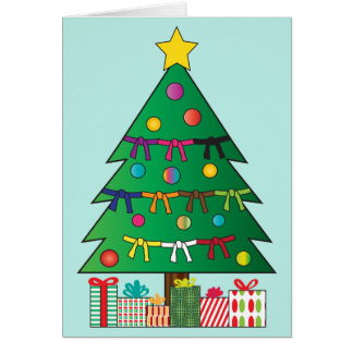 Martial Arts Belts Christmas Holiday Tree Card