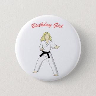 Martial Arts Birthday Girl (blonde) button badge