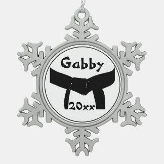 Martial Arts Black Belt Dated Pewter Snowflake Decoration