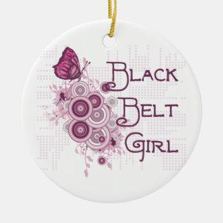 Martial Arts Black Belt Girl Pink Butterflies Christmas Ornament