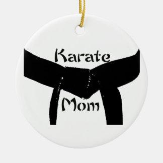 Martial Arts Black Belt Karate Mom Round Ceramic Decoration