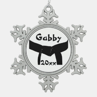 Martial Arts Black Belt Pewter Snowflake Decoration