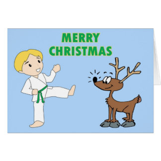 Martial Arts Boy and His Reindeer Christmas Cards
