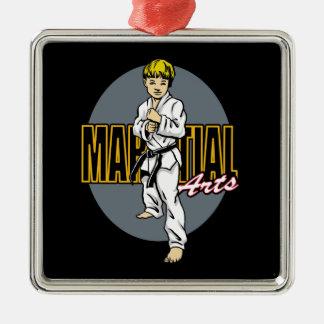 Martial Arts Boy Silver-Colored Square Decoration