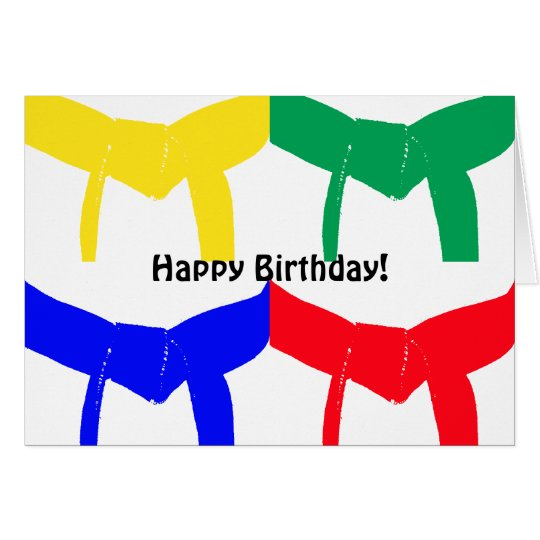 Martial Arts Coloured Belts Happy Birthday Card