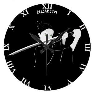 Martial Arts Female Warrior With Japanese Katana Large Clock