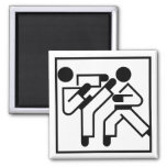 Martial Arts Figures Square Magnet