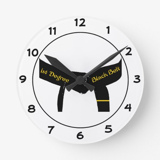 Martial Arts First Degree Black Belt Round Clock