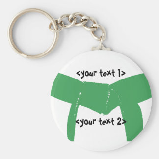 Martial Arts Green Belt Basic Round Button Key Ring