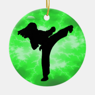 Martial Arts Green Lightning Female Design Round Ceramic Decoration