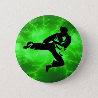 Martial Arts Green Lightning Man 6 Cm Round Badge