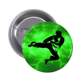 Martial Arts Green Lightning Man 6 Cm Round Badge