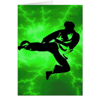 Martial Arts Green Lightning Man Card