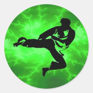Martial Arts Green Lightning Man Classic Round Sticker