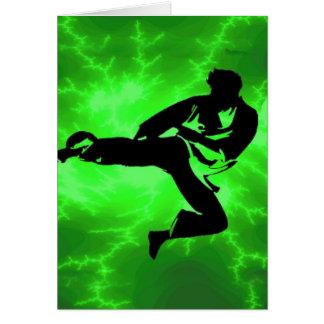 Martial Arts Green Lightning Man Greeting Card