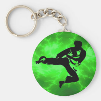 Martial Arts Green Lightning Man Key Ring