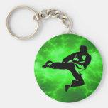 Martial Arts Green Lightning Man Basic Round Button Key Ring