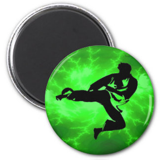 Martial Arts Green Lightning Man Magnet