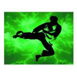 Martial Arts Green Lightning Man Post Card