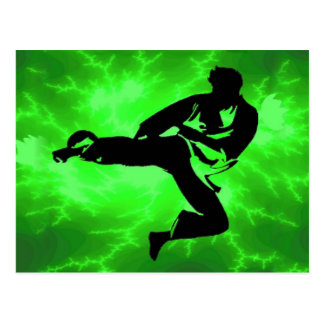 Martial Arts Green Lightning Man Postcard