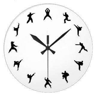 Martial Arts Karate (Black, White) Large Clock