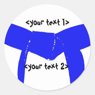 Martial Arts LIght Blue Belt Round Stickers