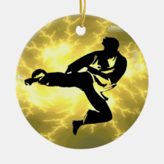 Martial Arts Lightning Bronze Male Design Christmas Ornament