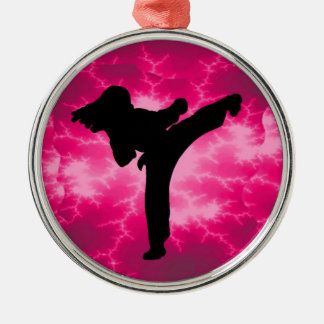 Martial Arts Lightning Pink Female Design Christmas Ornament