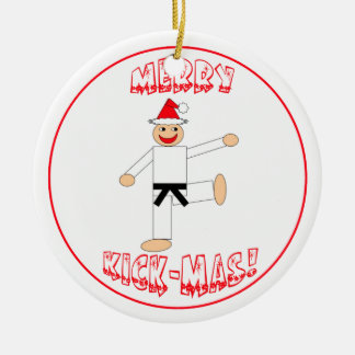 Martial Arts Merry Kick Mas Black Belt Rank Christmas Ornament