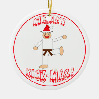 Martial Arts Merry Kick Mas Brown Belt Dated Christmas Ornament