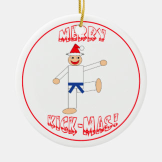 Martial Arts Merry Kick Mas Dark Blue Belt Christmas Ornament