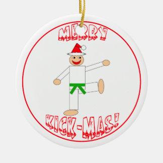 Martial Arts Merry Kick Mas Green Belt Christmas Ornament