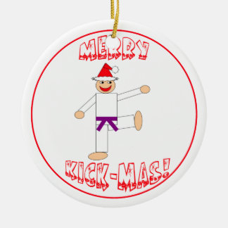 Martial Arts Merry Kick Mas Purple Belt Christmas Ornament