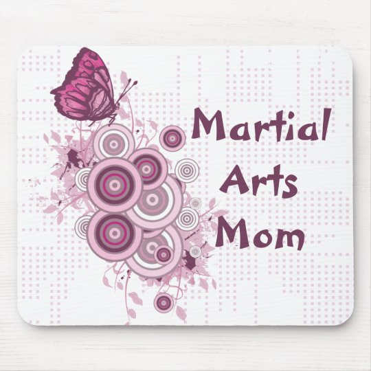 Martial Arts Mum Pink Butterflies Mouse Pad