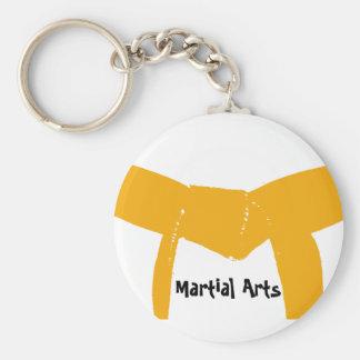 Martial Arts Orange Belt Basic Round Button Key Ring