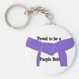 Martial Arts Proud to be a Purple Belt Basic Round Button Key Ring