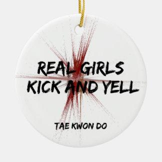 Martial Arts Real Girls Kick and Yell Taekwondo Round Ceramic Decoration