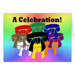 Martial Arts Ring of Belts Celebration invitations Greeting Card