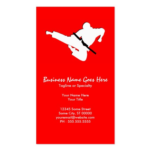 martial arts silhouette business card templates