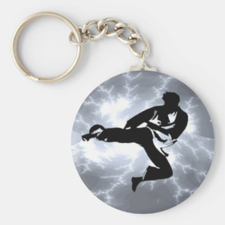 Martial Arts Silver Lightning man Key Ring