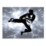 Martial Arts Silver Lightning man Postcards