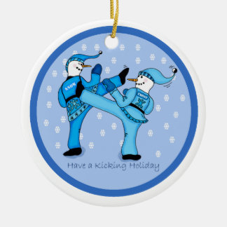 Martial Arts Snowmen for Christmas Ornament