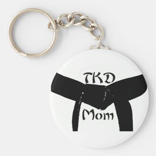 Martial Arts TKD Black Belt Mum Keychain