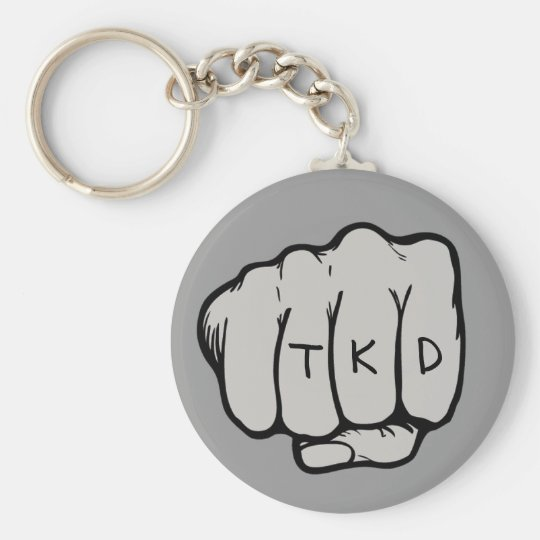 Martial Arts TKD Fist Basic Round Button Key Ring