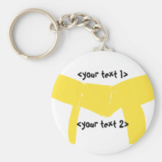 Martial Arts Yellow Belt Basic Round Button Key Ring