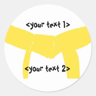 Martial Arts Yellow Belt Round Sticker