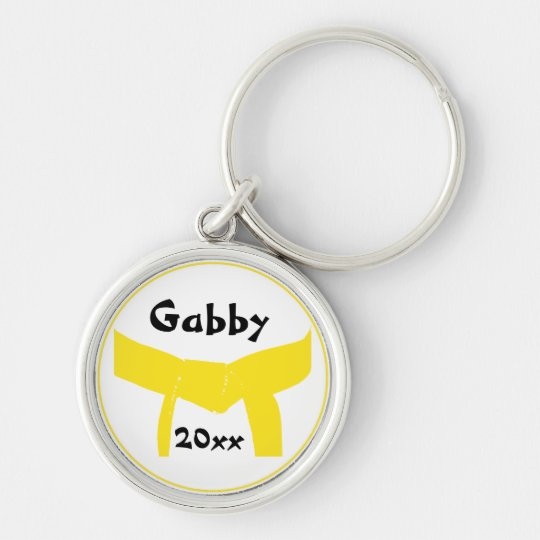 Martial Arts Yellow Belt Silver-Colored Round Key Ring