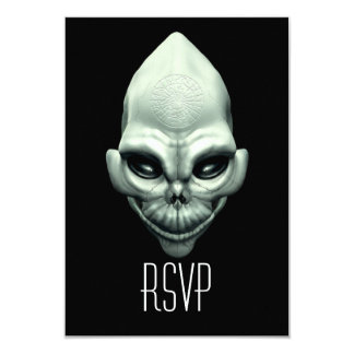 Martian Alien Extraterrestrial Outer Space Skull 9 Cm X 13 Cm Invitation Card