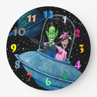 Martian and Cow in a Flying Saucer Wallclock